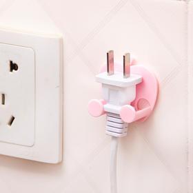 创意无痕粘贴式电器插头挂钩电源线插头挂架苹果造型插头支架-863732