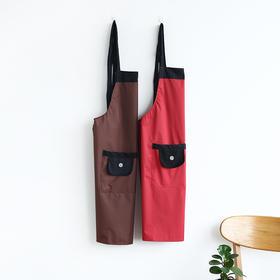 厨房围裙防水防油家用女背心式加厚创意情侣成人做饭护衣罩衣-863622