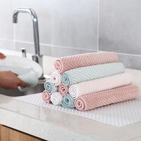 百洁布厨房珊瑚绒鱼鳞抹布加厚不沾油清洁布双层洗碗巾吸水擦手巾-863632