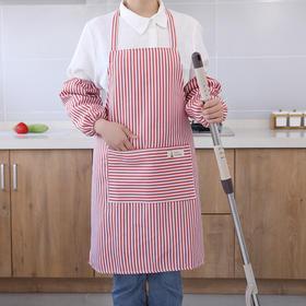 带袖围裙厨房工作服家用防油加厚条纹潮版无袖防水围腰成人罩衣-863626