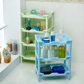 三层浴室置物架 卫生间塑料脸盆架落地式厨房储物收纳架-863944