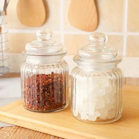 厨房玻璃密封罐竖条纹食品调料玻璃茶叶罐玻璃果酱瓶储存罐-863529