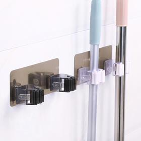 浴室拖把架防水无痕免打孔双排墙壁拖把收纳卫生间拖把挂钩拖把夹-863938