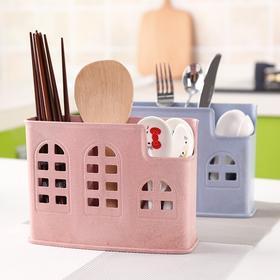 环保小麦秆筷子筒沥水筷子架 多功能厨房餐具收纳盒多格筷子笼-863564
