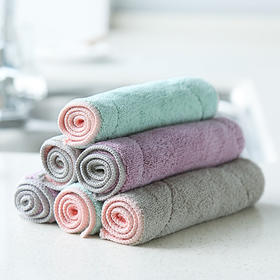 厨房洗碗布 双面纯色超细纤维抹布家用不沾油不易掉毛清洁百洁布-863637