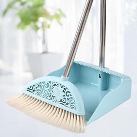 扫把簸箕套装 可拆杆子卸加密刷毛挂齿设计塑料地板扫帚-863697
