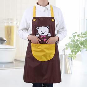 可爱时尚围裙女背心式罩衣无袖防水防油卡通成人围腰厨房工作罩衣-863618