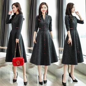 连衣裙潮流简约个性显瘦修身百搭长袖中长款纯色 CS-HFG145