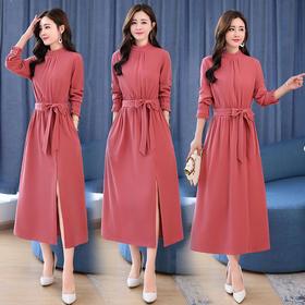 韩版百搭长袖拼色连衣裙气质收腰显瘦时髦 CS-OKYZ689
