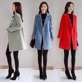 毛呢外套长袖西装领休闲时尚口袋中长款纯色 CQ-QY8901