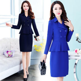 西装领中腰一步裙X型中长款长袖连衣裙纯色假两件 CS-XXM107