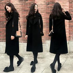 黑色毛呢外套女2018秋冬季新款韩版女装赫本风中长款修身呢子大衣