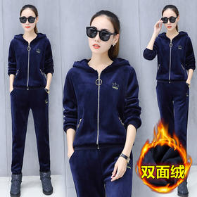 时尚双面绒套装运动休闲卫衣+长裤宽松舒适 CQ-XKZ1156