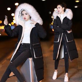 口袋潮流拼接气质时尚休闲中长款长袖棉衣/棉服 CQ-AYD8049