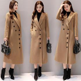 冬季长袖长款特色双排扣西装领纯色毛呢外套韩版潮流时尚百搭 CS-YDFS895