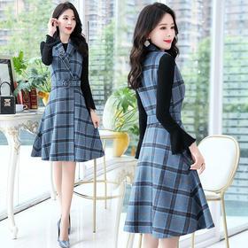格子时尚简约舒适修身中腰荷叶袖修身连衣裙两件套 CS-MLJL8911