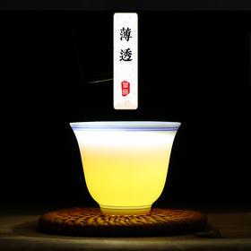 薄胎白瓷青花功夫茶杯单杯陶瓷主人杯品茗杯小茶杯茶盏茶碗铃铛杯