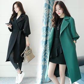 风衣纯色中长款九分袖西装领宽松休闲时尚 CS-HYMD1788