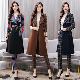 时尚风衣套装配腰带优雅气质显瘦时尚两件套 CS-GJC5807