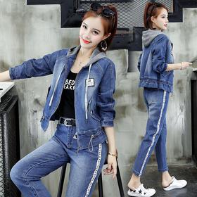 时尚休闲套装减龄社会牛仔套装两件套气质 CS-YFW8803-1