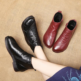 MLD2817复古真皮粗跟防滑刺绣保暖短靴