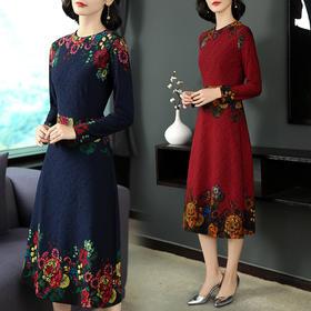 长袖中长款通勤高腰套头显廋优雅知性简约连衣裙 CS-YZX6332