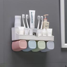 超强力无痕壁挂收纳幸福之家洗漱架 情侣四口之家洗漱套装牙刷架