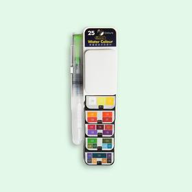秀普扇形固体水彩颜料套装25色 用完晾干一会再合上