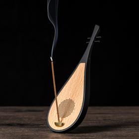 禅语木质琵琶品香播放器木质音响香道音响线香炉蓝牙音乐念佛
