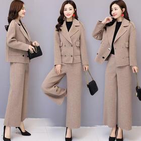 韩版优雅翻领双排扣显瘦气质百搭简约纯色两件套 CS-HSYL8865