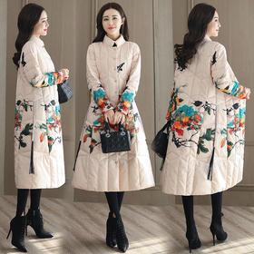 时尚气质优雅舒适宽松休闲口袋图案中长款长袖棉衣 CS-BL5129