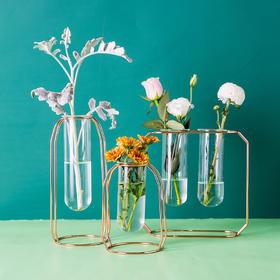 摩登主妇 ins风工业复古金属玻璃花瓶设计师桌面盆栽摆件水培瓶