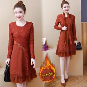 新款加绒加厚蕾丝打底衫连衣裙保暖修身显瘦 CS-MLF6792