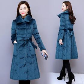 纯色时尚简约修身口袋中长款束腰修身气质淑棉衣 CQ-MYYS1871