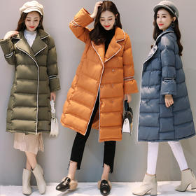 韩版潮流时尚百搭修身显瘦休闲长袖中长款棉衣 CS-HBLJR6112