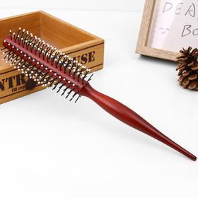 红色尖尾卷发梳时尚造型美发梳女式家居日用木质耐用梳子-864514