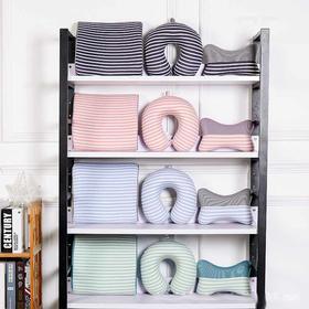 新款记忆棉枕头三件套 纯棉针织透气网布二色混搭汽车枕脖枕腰枕-864510