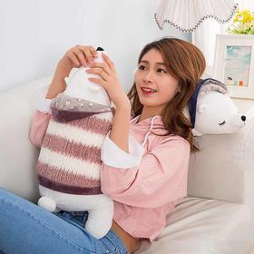 新款卡通睡觉抱枕公仔 创意带帽北极熊条纹趴趴熊毛绒玩具 -864502