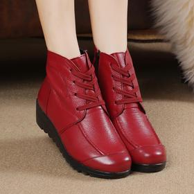 MLD8305坡跟防滑加绒保暖棉鞋系带广场舞鞋