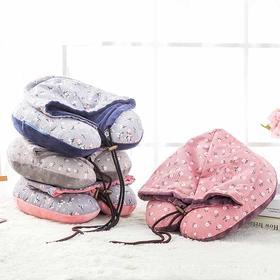棉布小碎花带帽 U型颈枕 旅行连帽护脖子枕头-864508