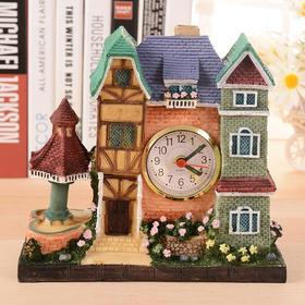 欧式建筑闹钟 创意房屋台钟树脂工艺摆件生日礼品卧室座钟-864580