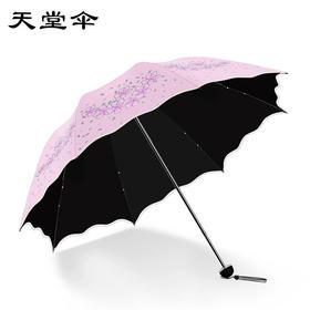 天堂伞新款小清新两用晴雨伞折叠防晒雨伞黑胶遮阳伞女太阳伞-864704