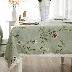 美式乡村印花餐桌布简约家居布艺茶几布绿色酒店台布桌布-864669