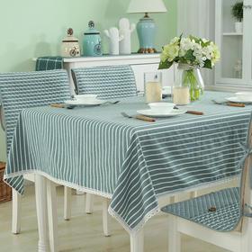 小艾家居条纹餐桌布艺桌布全棉茶几桌布长方圆形台布加厚简约现代-864672