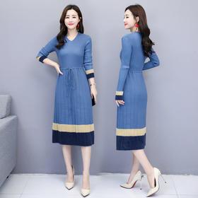 连衣裙纯色V领松紧腰常规长袖长裙大摆型系带 CQ-LY8835