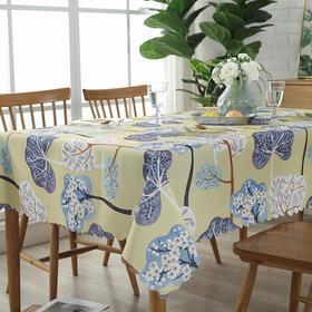防水桌布棉麻布艺小清新黄色桌垫防油污家用免洗长方形茶几布盖布-864665