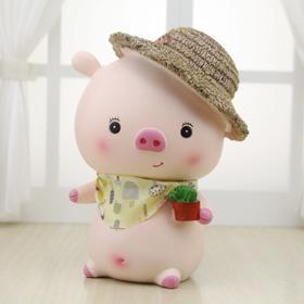 创意树脂草帽猪储蓄罐学生个性礼品房间装饰存钱罐摆件-864768