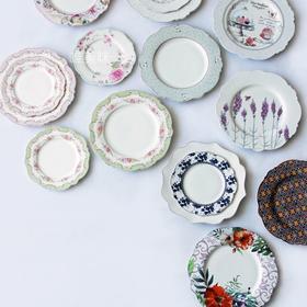 新骨瓷 古典英伦风 荷叶边 繁花似锦系列 餐盘甜品盘 装饰盘 下午茶 轰趴 茶歇