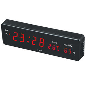LED CLOCK 插电LED挂钟电子闹钟带温度湿度计显示蓝色光绿色光-864581