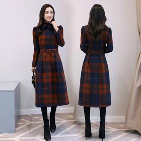 连衣裙纯色暗扣长袖长款直筒泡泡袖娃娃领韩版百搭时尚 CS-SERQ1785